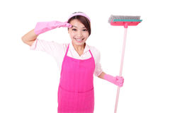 Happy Cleaning woman housewife Royalty Free Stock Images