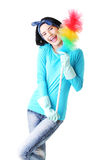 Happy cleaning woman portrait Stock Images