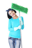 Happy cleaning woman portrait Stock Photo