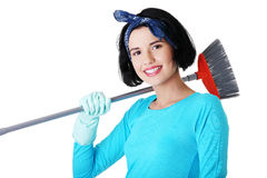 Happy cleaning woman portrait Stock Photos