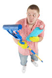 Happy cleanner. Picture of joyful cleaner. Isolated over white Stock Photos
