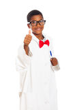 Happy clever scientist child. Happy clever school boy in scientist lab coat giving thumb up, isolated on white background Stock Photography