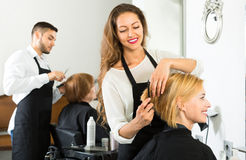 Happy client in a barbershop Stock Photography