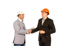 Happy Client and Engineer Shaking Hands Stock Images