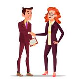 Happy Client Vector. Business Concept. Suit. Partners And Clients. Meeting Handshaking. Agreement Sign. Isolated Flat stock illustration
