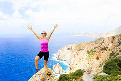 Happy climber woman winner reaching life goal success Stock Images