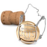 Happy 2015. Close up of champagne cork on white background Royalty Free Stock Images