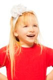 Happy close-up portrait of little blond girl Stock Photos