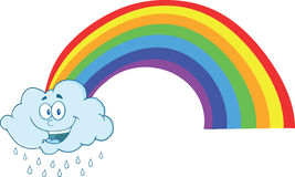 Happy Cloud Raining With Rainbow Royalty Free Stock Photography