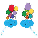 Happy clouds. Illustration of happy clouds with ballons Stock Image