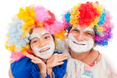 Happy Clown. Child and Adult woman clown smiling Royalty Free Stock Photo