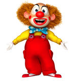 Happy clown. 3 d cartoon cute clown Stock Photos