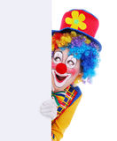 Happy clown with the blank board Stock Photography