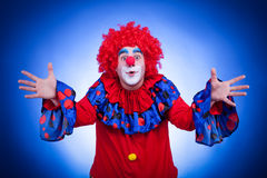 Happy clown on blue background Stock Image