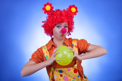 Happy clown on blue background Royalty Free Stock Photo