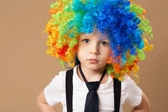Happy clown boy with large colorful wig. Royalty Free Stock Photos