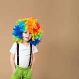 Happy clown boy with large colorful wig Stock Image