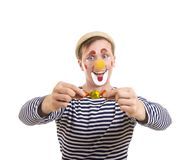 A happy clown with a funny expression. Isolated image on white background, Studio shot Stock Photography