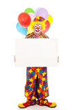 Happy Clown Holding Sign Stock Image
