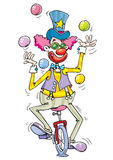 Happy clown juggle ring with balls Royalty Free Stock Photography