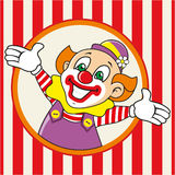 Happy clown meets guests. Vector illustration. Joyful the clown is looking out the window. Vector Stock Image
