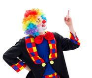 Happy clown pointing upward Stock Images