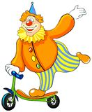 Happy clown riding a scooter. Royalty Free Stock Photos