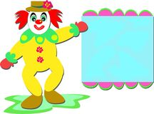Happy Clown with Sign Royalty Free Stock Photo