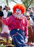 Happy clown in a small town parade Royalty Free Stock Images