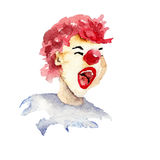 Happy clown with smile. Watercolor illustration Royalty Free Stock Images