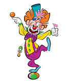 Happy clown. A happy clown standing on a ball and doing funny acrobatics Royalty Free Stock Photos