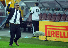 Happy coach Fernando Santos celebrates qualifying to FIFA World Cup 2014 Royalty Free Stock Images
