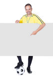 Happy Coach Holding Placard And Football. Portrait Of Happy Coach Holding Placard And Football Isolated On White Background Stock Photography