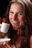 Happy with coffee Royalty Free Stock Photos