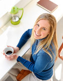 Happy with coffee Royalty Free Stock Photography