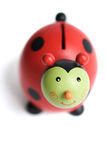 Happy Coin Bank. Happy Red and Green Character Coin Bank isolated on white Stock Photography