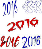 Happy 2016 Collage. Happy 2016 writing in blue an red in an white background collage royalty free illustration