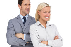 Happy colleagues looking at the same way Stock Photography