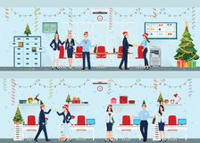 Happy colleagues in santa hat celebrating Christmas at office. Happy colleagues in santa hat celebrating Christmas at office, Modern interior of christmas royalty free illustration
