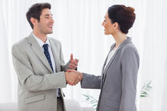 Happy colleagues shaking hands during meeting Royalty Free Stock Images