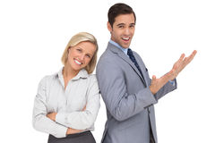Happy colleagues standing together Royalty Free Stock Photos