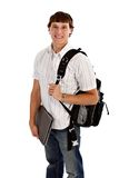 Happy College Student Isolated on White Stock Images