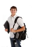 Happy College Student Isolated on White Royalty Free Stock Photography