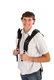 Happy College Student Isolated on White Royalty Free Stock Photo