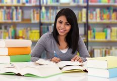 Happy college student studying in library Royalty Free Stock Photo