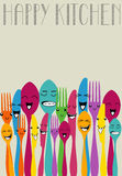 Happy color cutlery Royalty Free Stock Images