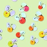 Happy colored bees seamless pattern on green Stock Photography