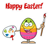 Happy Colored Easter Egg Cartoon Mascot Character Holding A Paintbrush And Palette Royalty Free Stock Photography
