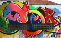 happy-colored-grafitti-wall Royalty Free Stock Photo