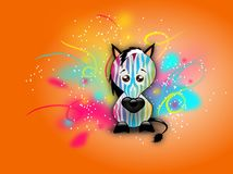 Happy Colored Zebra Royalty Free Stock Photography